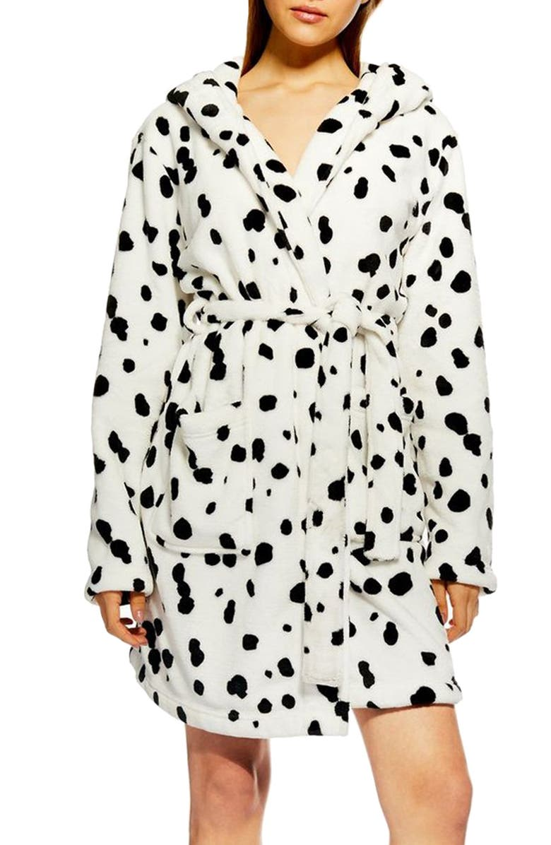 TOPSHOP Dalmatian Print Hooded Robe, Main, color, 100