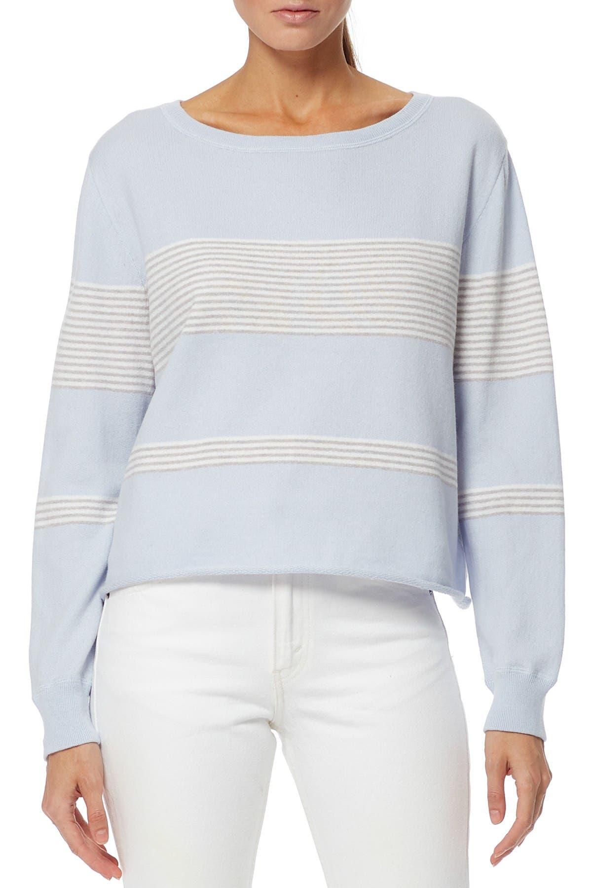 Image of 360 Cashmere Amora Stripe Knit Cotton & Cashmere Blend Sweater