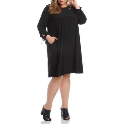 Plus Size Karen Kane Tie Cuff Long Sleeve Swing Dress, Black