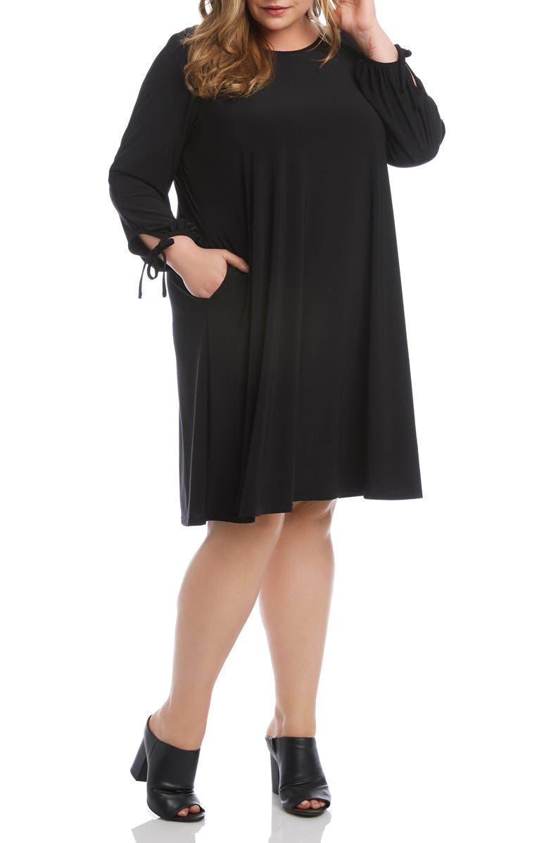 Karen Kane Tie Cuff Long Sleeve Swing Dress (Plus Size ...