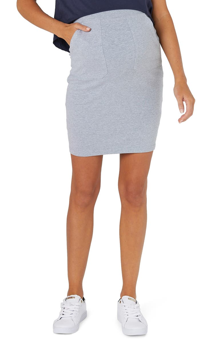 LEGOE. Zephyr Ribbed Maternity Skirt, Main, color, 020