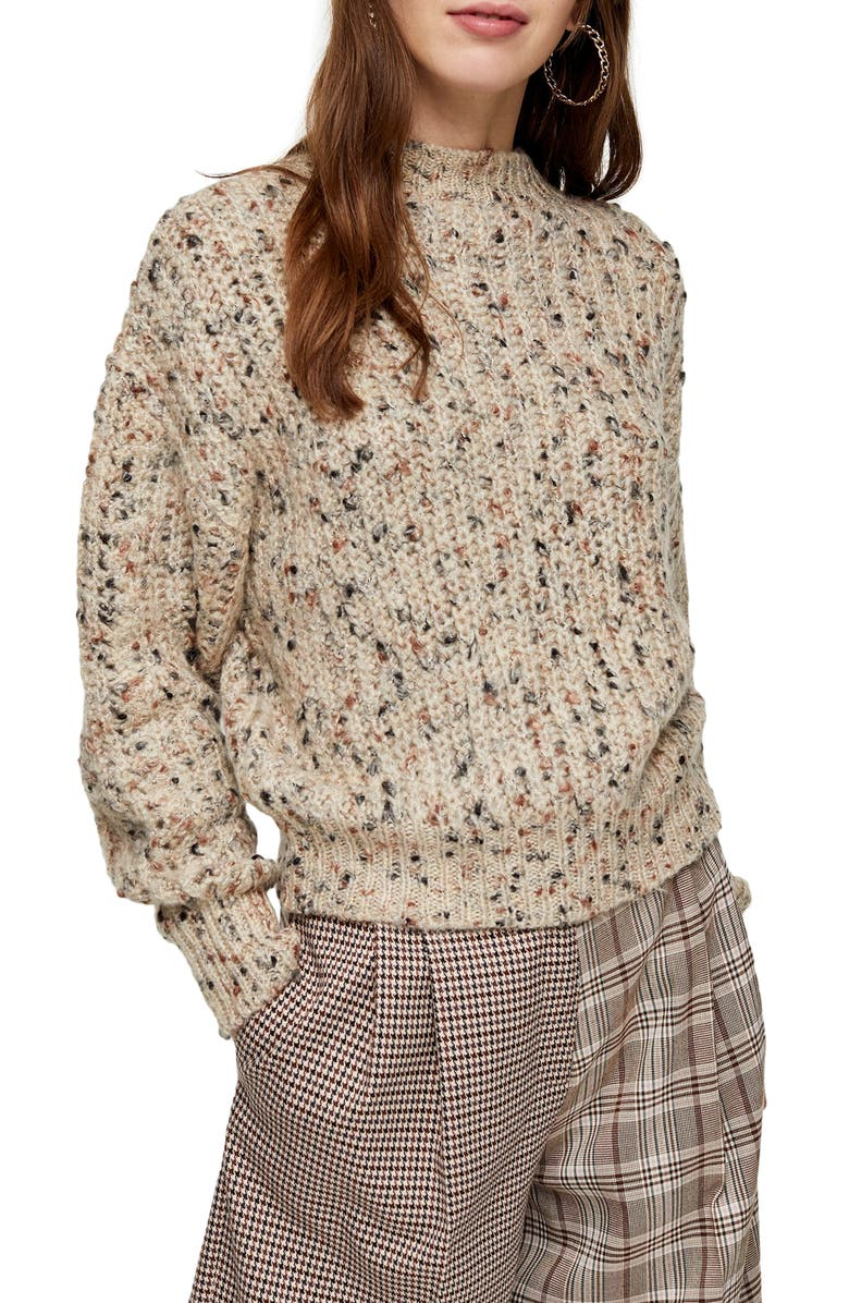 TOPSHOP Textured Pointelle Sweater, Main, color, NUDE MULTI