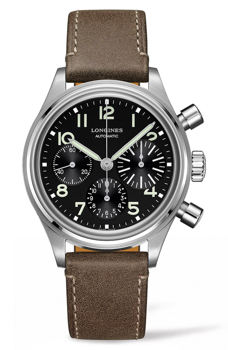 LONGINES Aviation Big Eye Automatic Chronograph Leather Strap Watch, 41mm, Main, color, 200