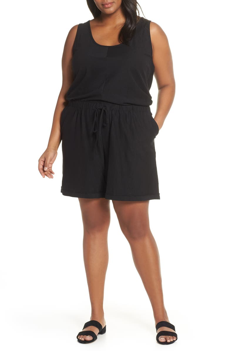 CASLON<SUP>®</SUP> Sleeveless Jersey Romper, Main, color, BLACK