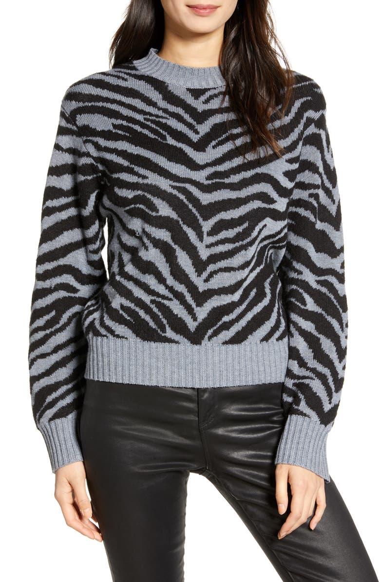 REBECCA MINKOFF Jax Zebra Jacquard Sweater, Main, color, GREY