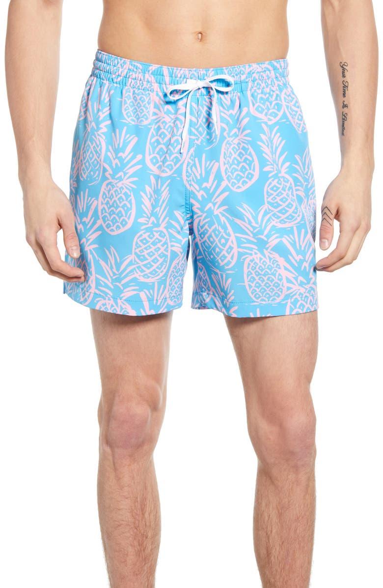 CHUBBIES Prickly Guys Print Swim Trunks, Main, color, HULA PINES