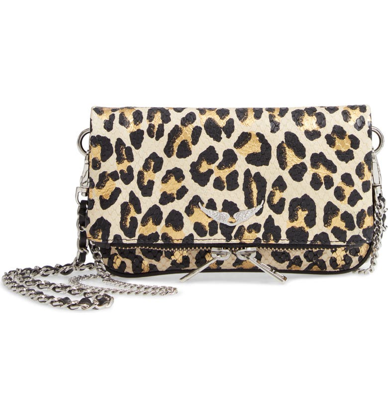 ZADIG & VOLTAIRE Nano Rock Snake Embossed Leather Clutch, Main, color, MULTI
