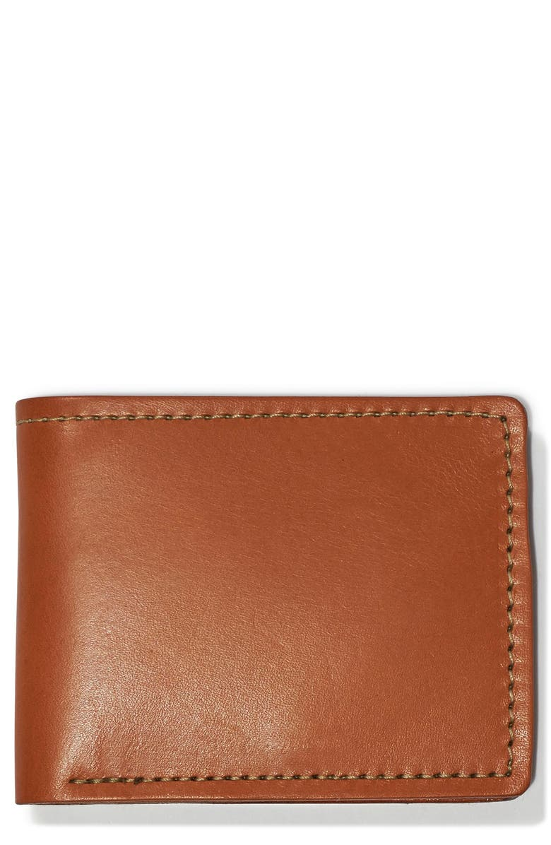 FILSON Leather Bifold Leather Wallet, Main, color, TAN LEATHER