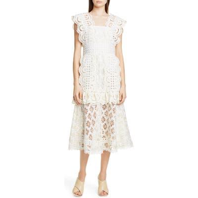 Sea Laurel Lace Midi Dress, White