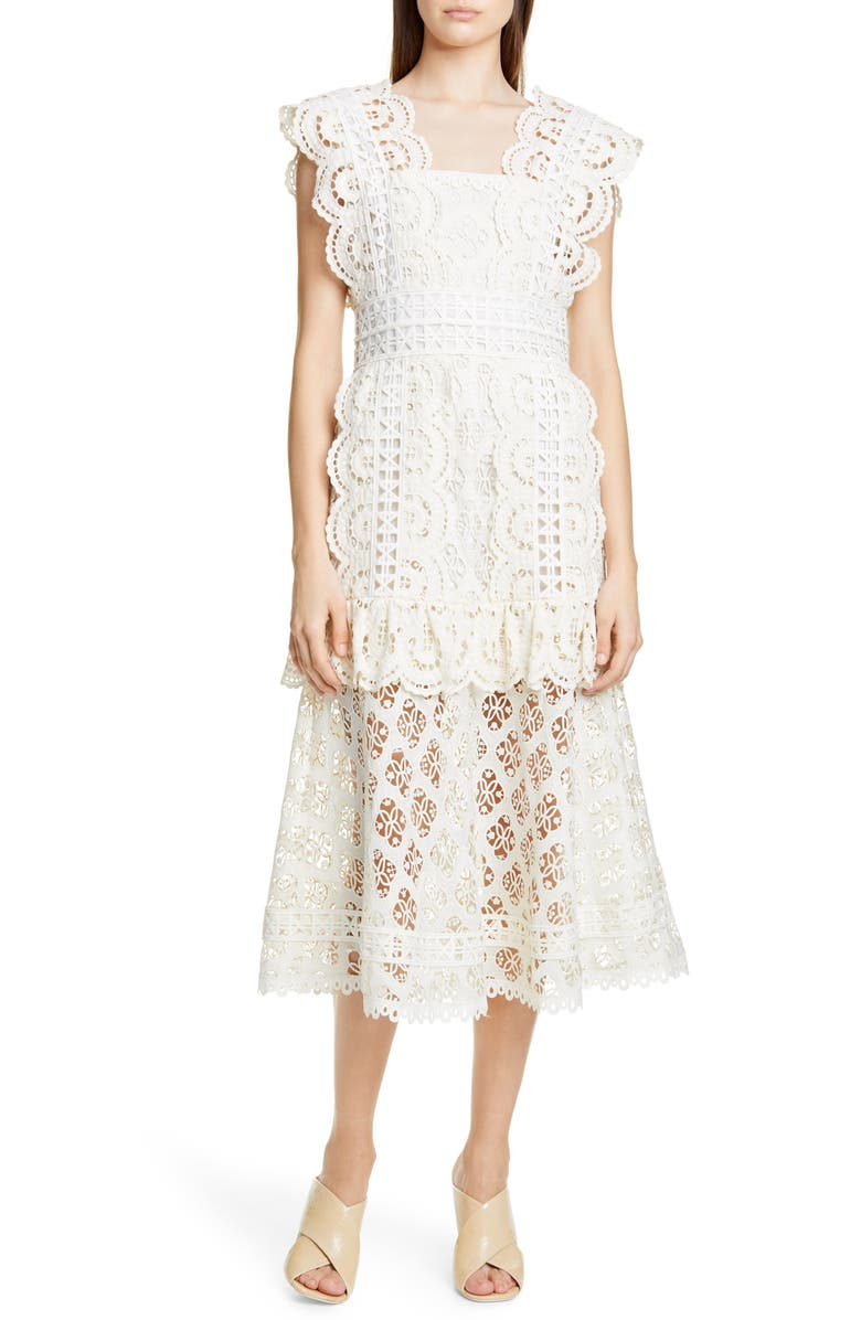 SEA Laurel Lace Midi Dress, Main, color, WHITE