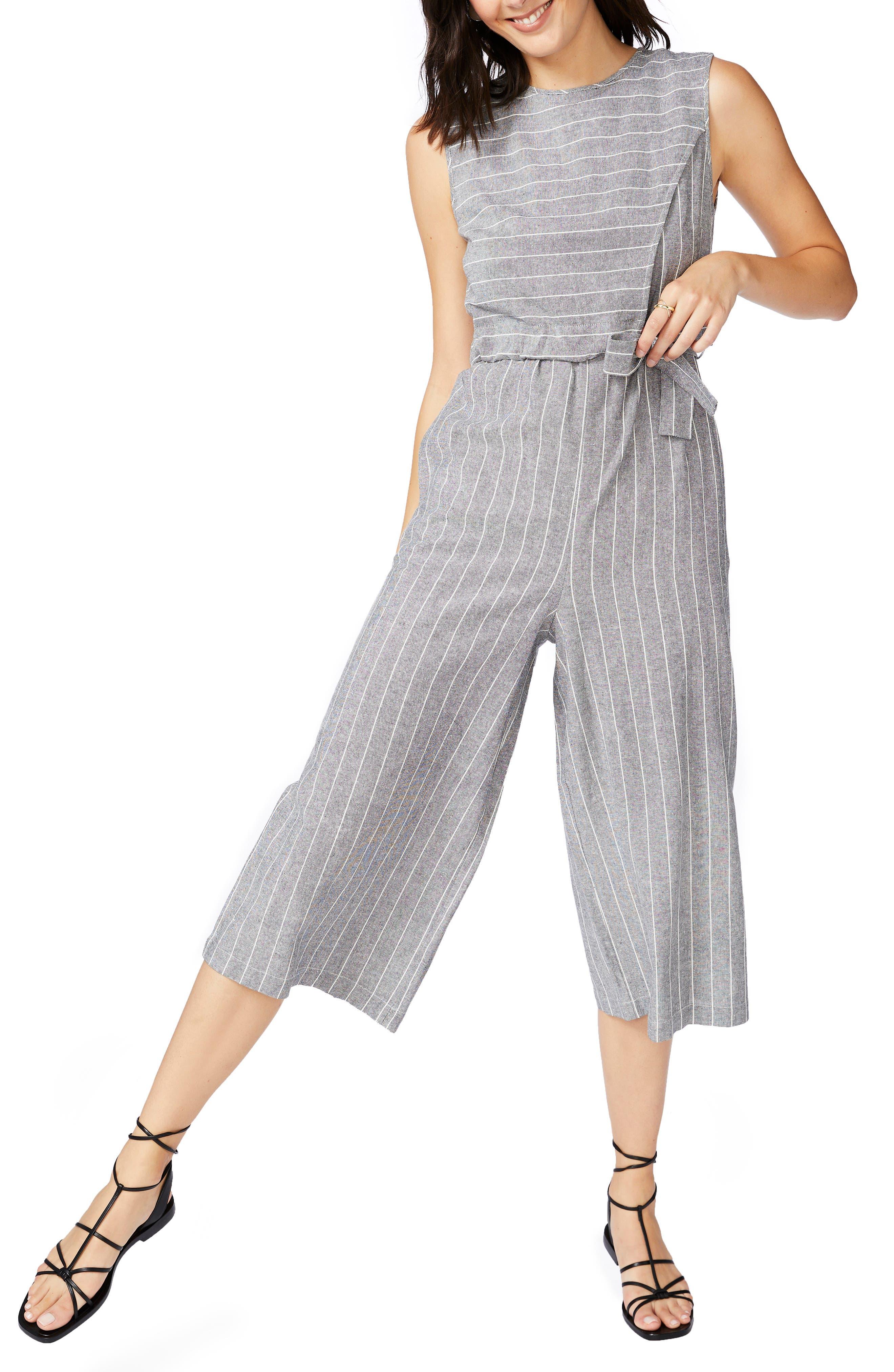 Pinstripe Crop Jumpsuit