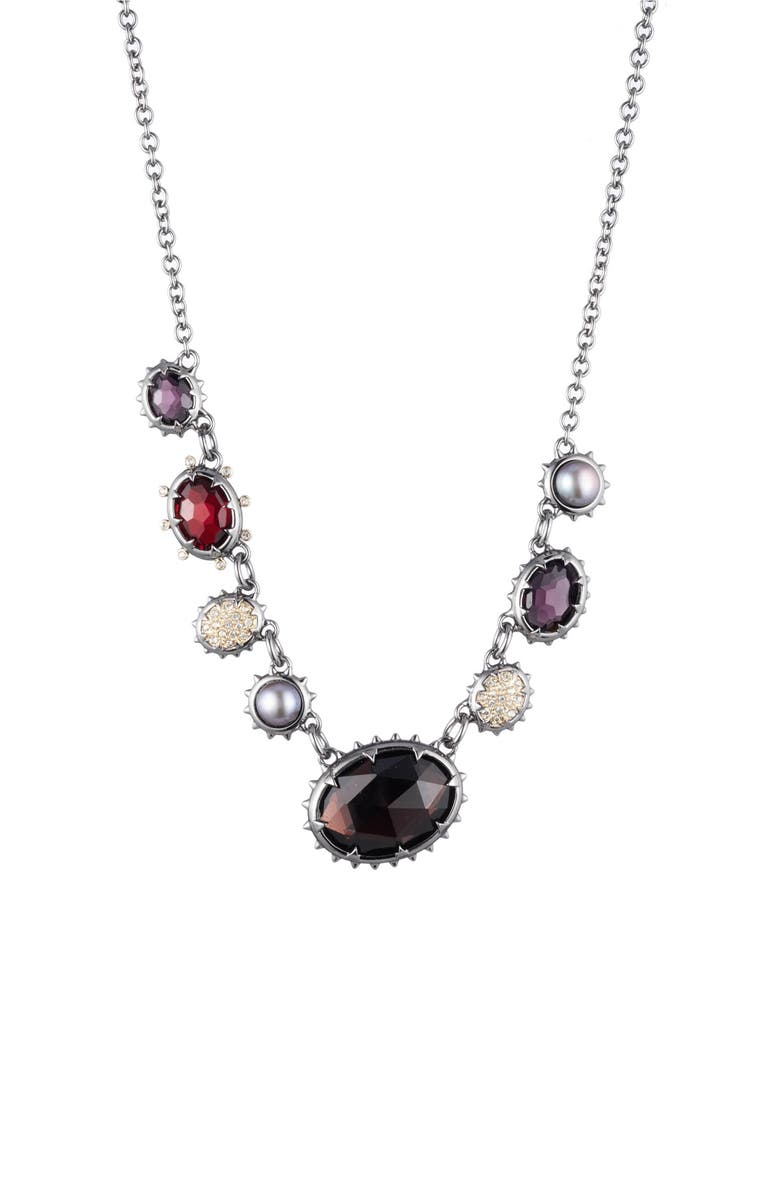 ALEXIS BITTAR Crystal Frontal Necklace, Main, color, RUTHENIUM WITH 10K GOLD