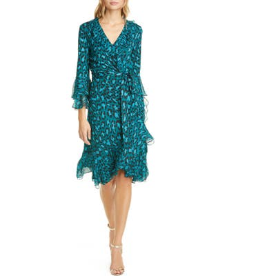 Dvf Carli Leopard Print Ruffle Silk Wrap Dress, Blue/green