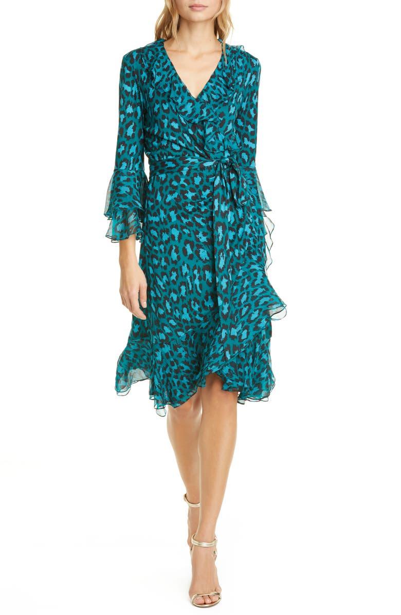 DVF Carli Leopard Print Ruffle Silk Wrap Dress, Main, color, NATURAL LEOPARD EVERGREEN