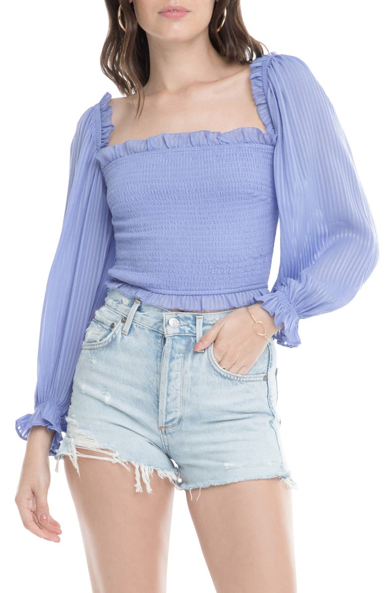 ASTR THE LABEL Smocked Balloon Sleeve Top, Main, color, 500