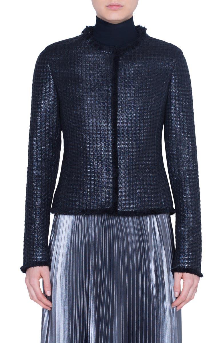 AKRIS PUNTO Fringe Trim Lacquered Tweed Jacket, Main, color, 009