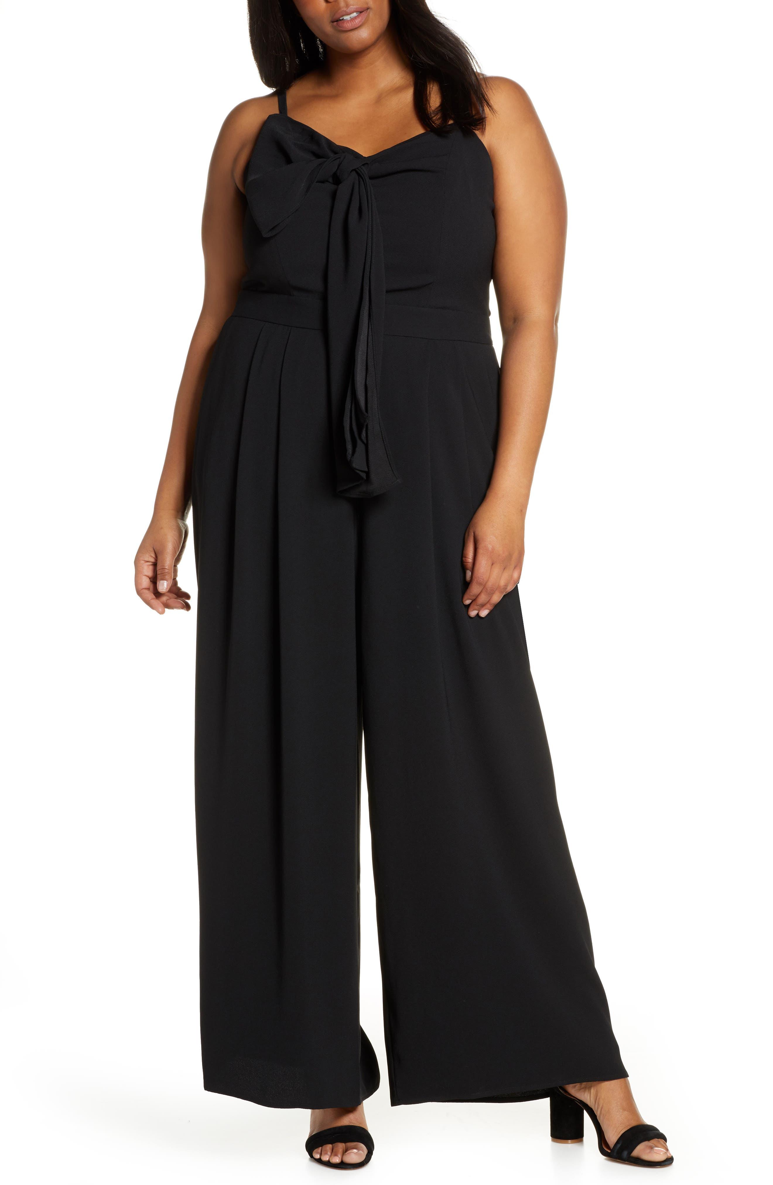 70s Jumpsuit   Disco Jumpsuits – Sequin, Striped, Gold, White, Black Plus Size Womens Eloquii Tie Front Wide Leg Jumpsuit Size 26W - Black $71.96 AT vintagedancer.com
