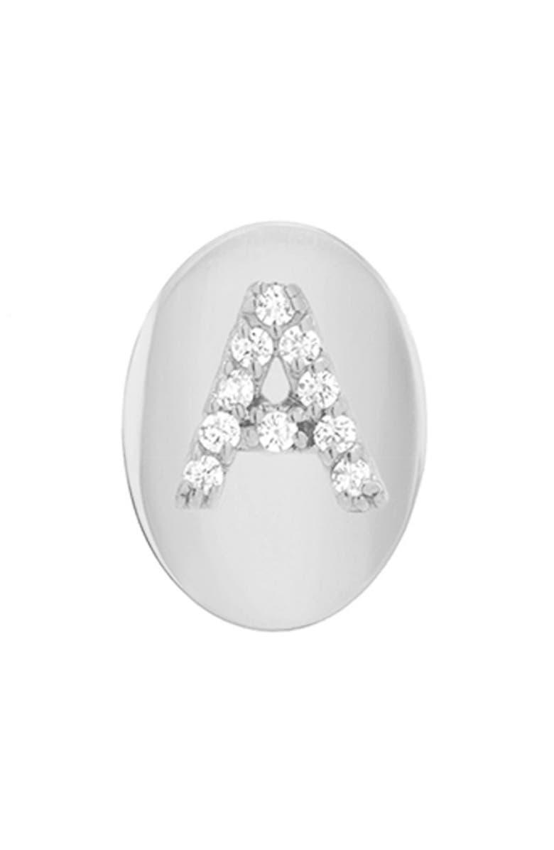 MINI MINI JEWELS Framed Diamond Initial Earring, Main, color, WHITE GOLD-A