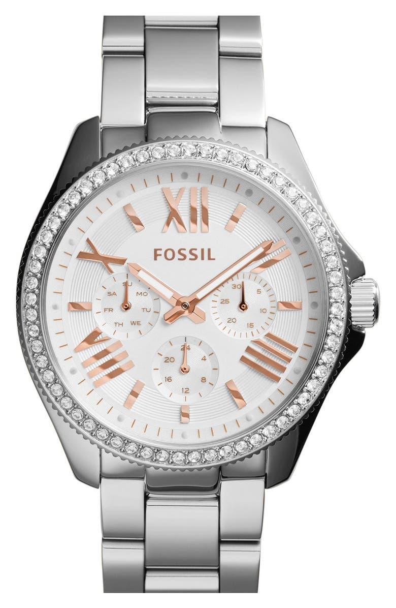 FOSSIL 'Cecile' Crystal Bezel Chronograph Bracelet Watch, 40mm, Main, color, 040