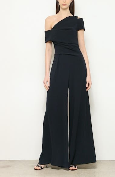 One-Shoulder Stretch Crepe Jumpsuit, video thumbnail