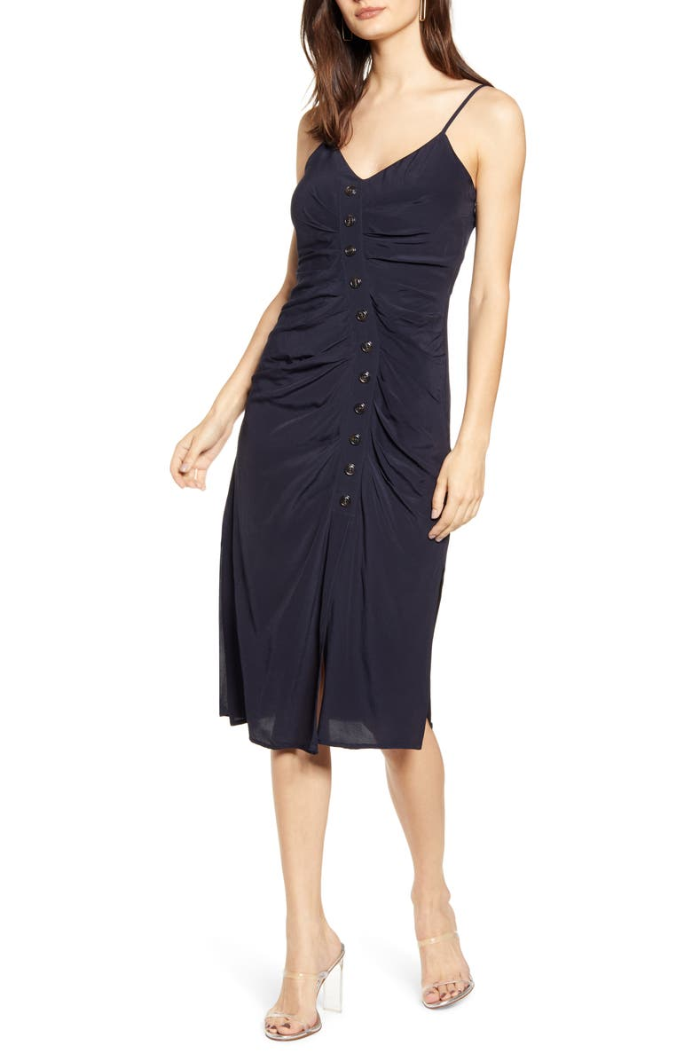 J.O.A. Ruched Slipdress, Main, color, NAVY
