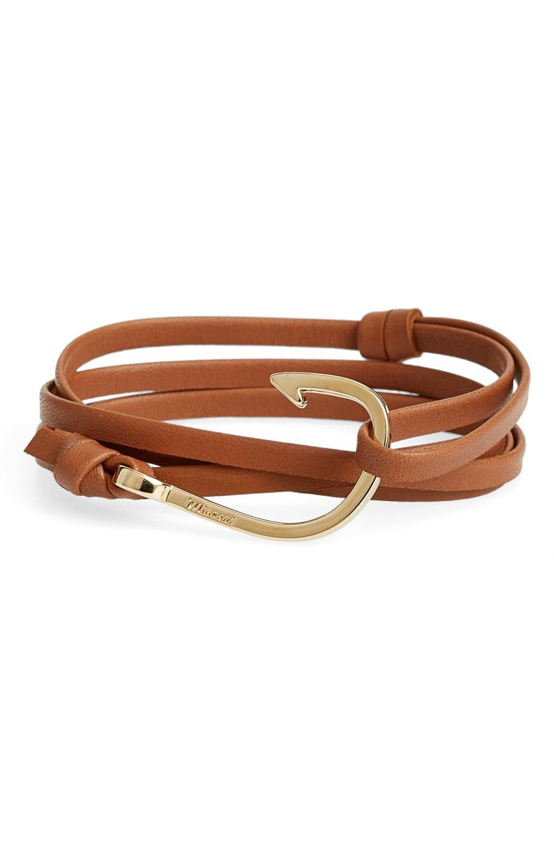 MIANSAI Gold Hook Leather Bracelet, Main, color, BROWN
