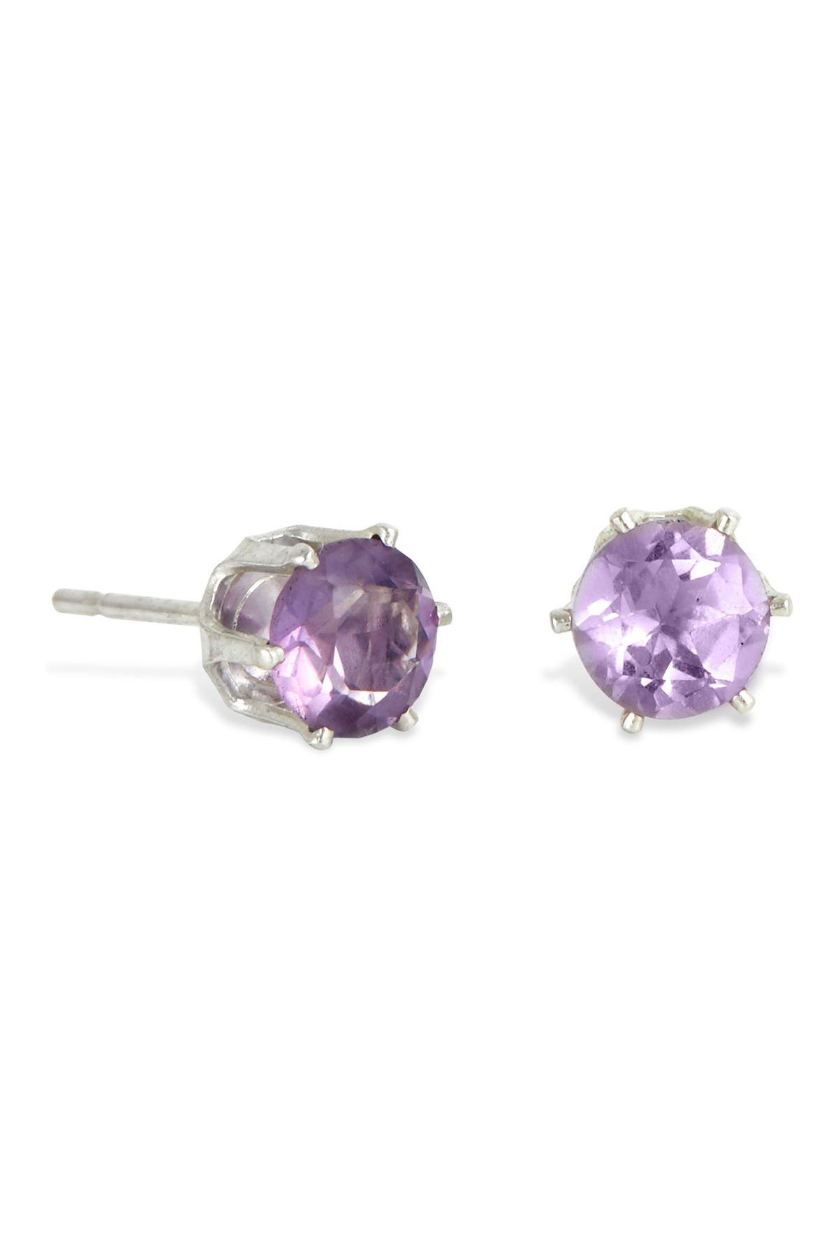 Image of Savvy Cie Sterling Silver Amethyst Stud Earrings