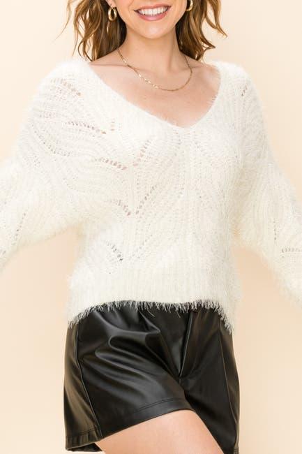 Image of HYFVE V-Neck Fuzzy Knit Sweater