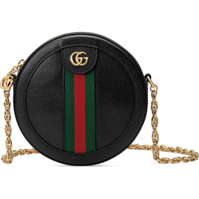 Gucci Mini Ophidia Round Leather Bag - Black