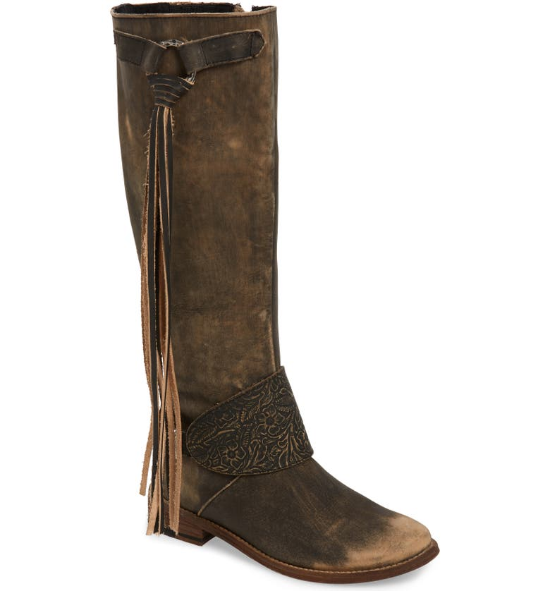 VERY VOLATILE Cobblestone Fringe Riding Boot, Main, color, CHARCOAL LEATHER