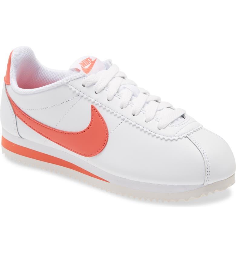 NIKE Classic Cortez Sneaker, Main, color, WHITE/ MAGIC EMBER