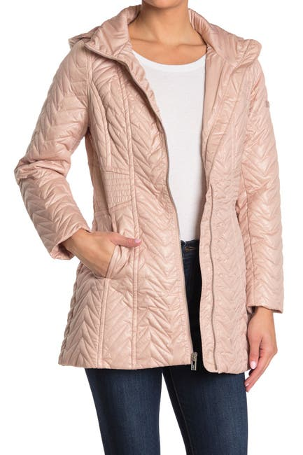 Image of Via Spiga Zigzag Detachable Hooded Puffer Jacket