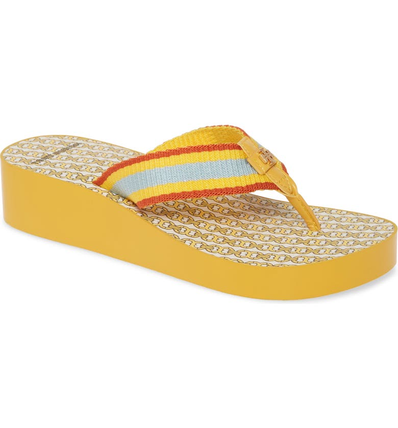TORY BURCH Gemini Link Wedge Flip Flop, Main, color, DAYLILY