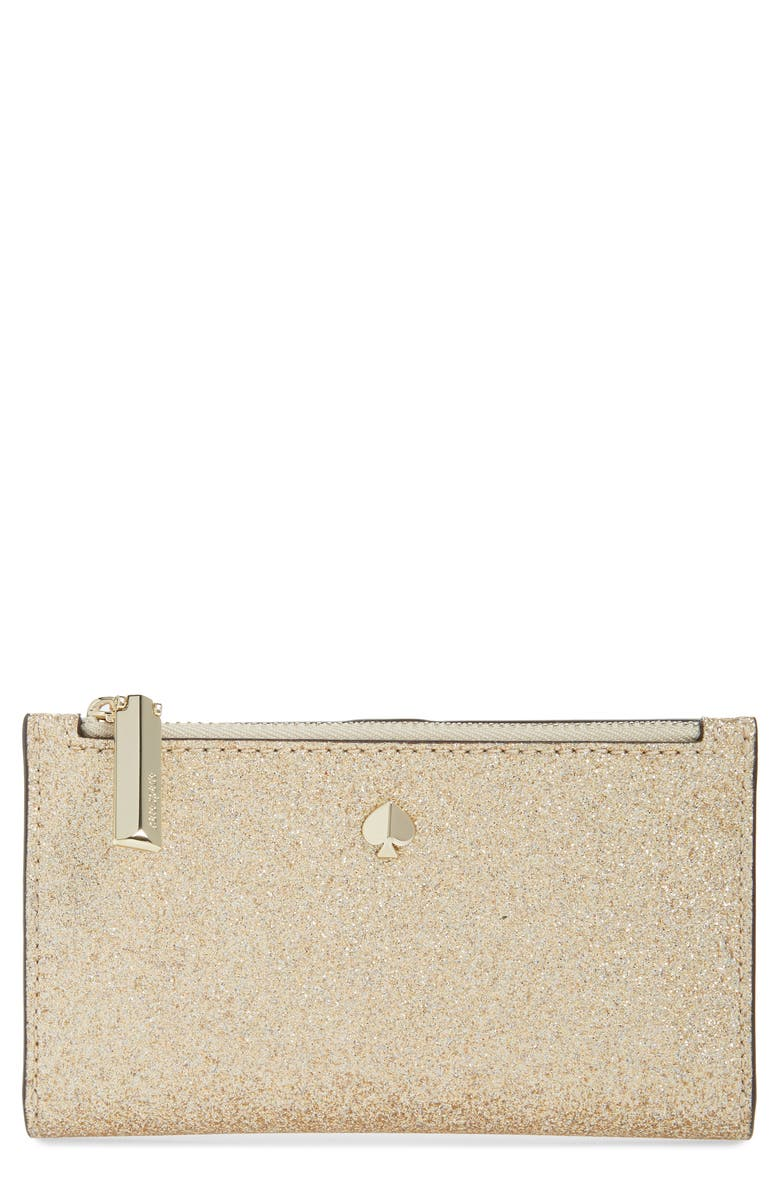 KATE SPADE NEW YORK burgess court glitter wallet, Main, color, PALE GOLD
