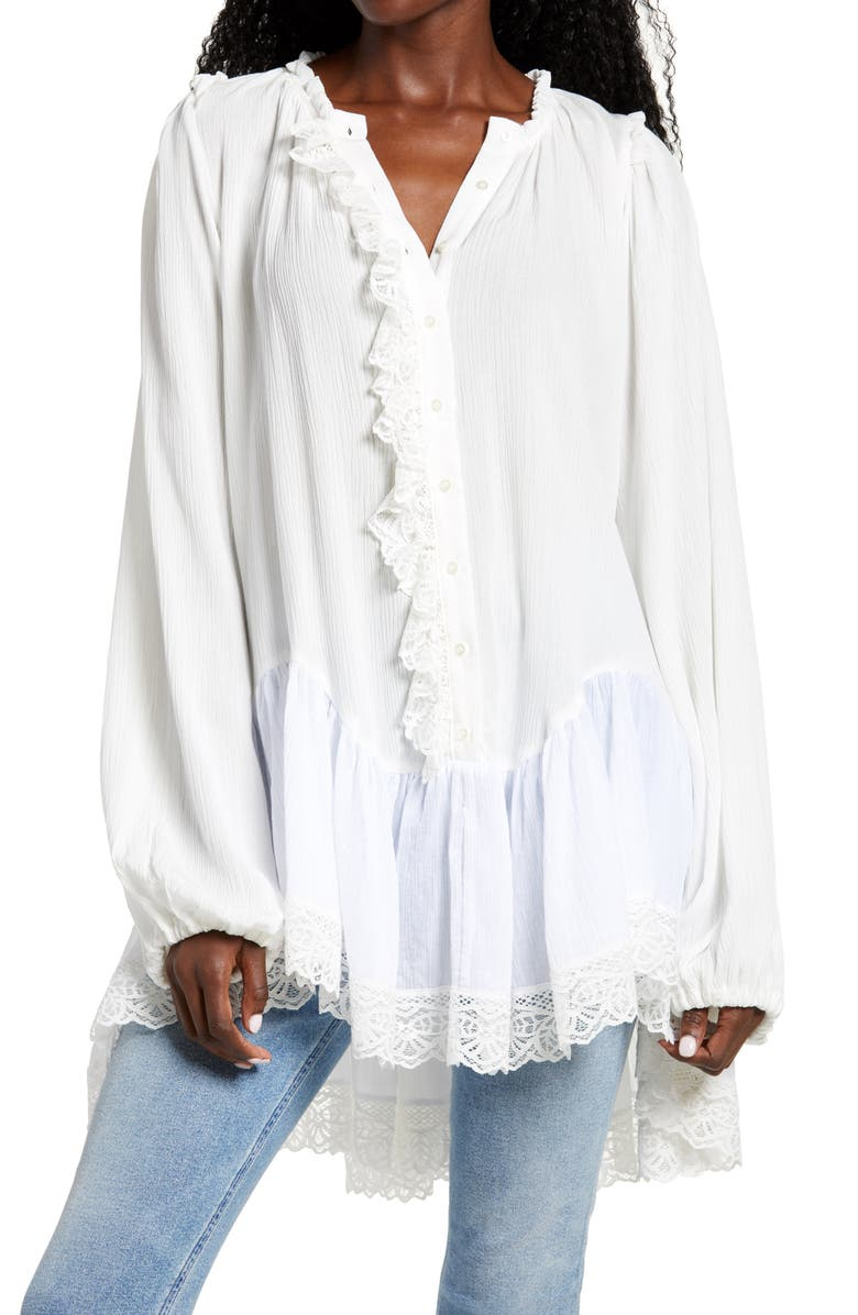 FREE PEOPLE Jeanette Lace Trim Tunic, Main, color, IVORY