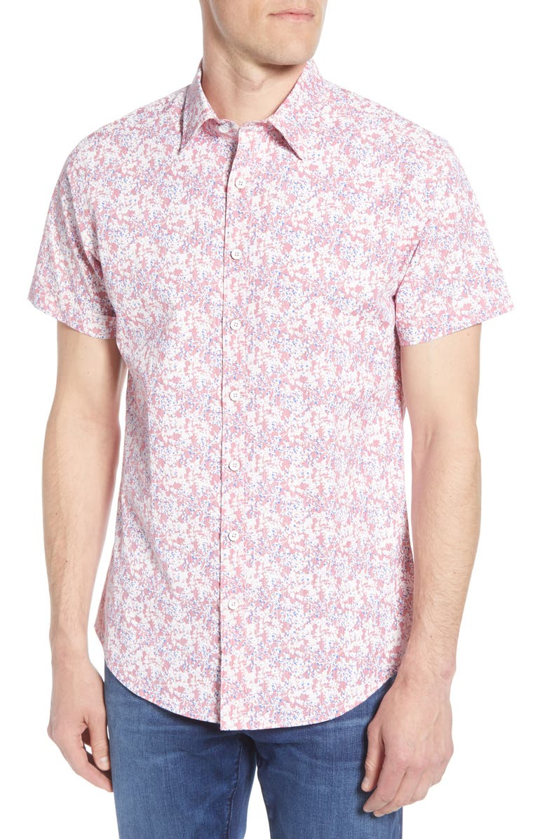 RODD & GUNN Lake Roxburgh Regular Fit Floral Short Sleeve Button-Up Shirt, Main, color, CLARET