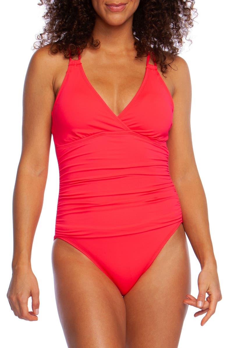 LA BLANCA Island One-Piece Underwire Swimsuit, Main, color, WATERMELON