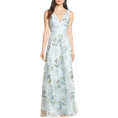 Jenny Yoo Tatum Floral Embroidered Tulle Evening Dress, Blue