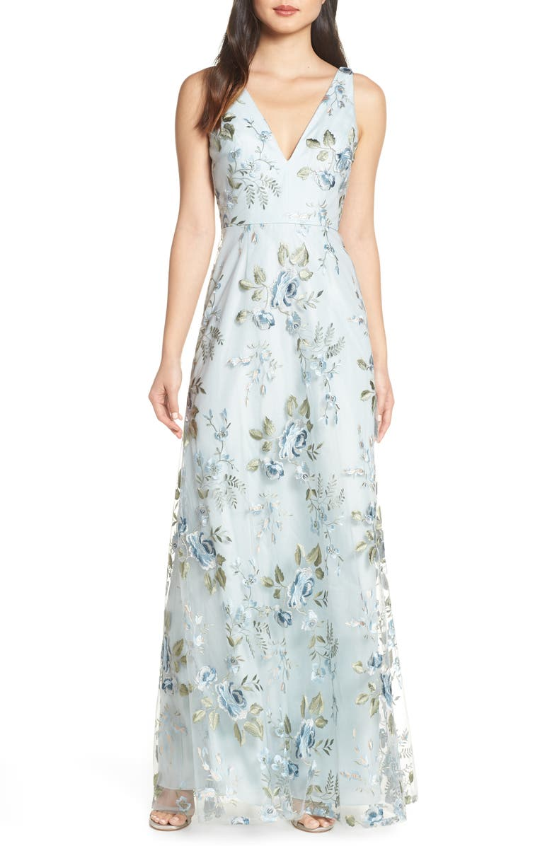 JENNY YOO Tatum Floral Embroidered Tulle Evening Dress, Main, color, SERENITY BLUE