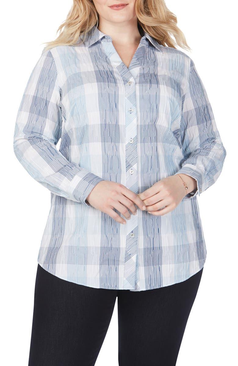 FOXCROFT Crinkled Buffalo Check Tunic Shirt, Main, color, BLUE JEAN