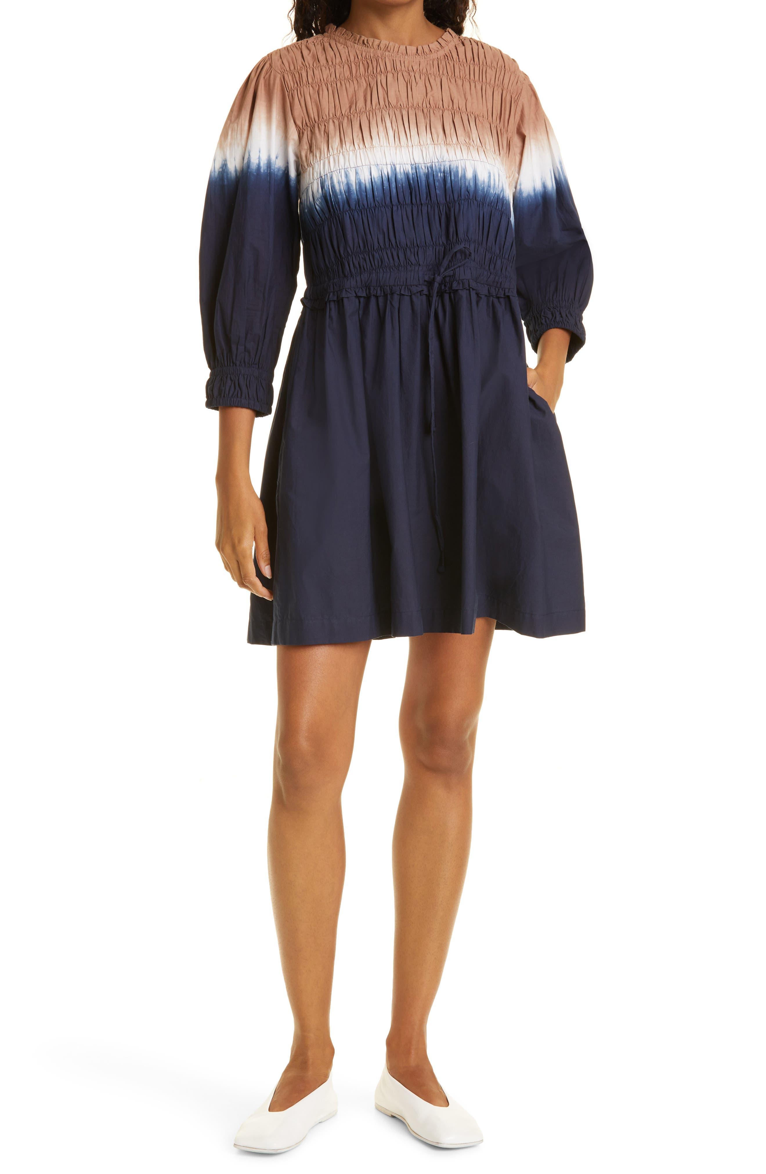 Aldea Smocked Long Sleeve Organic Cotton Minidress