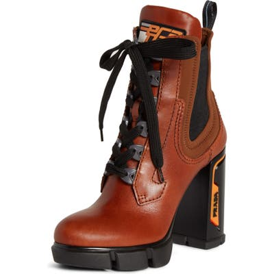 Prada Platform Block Heel Boot, Brown
