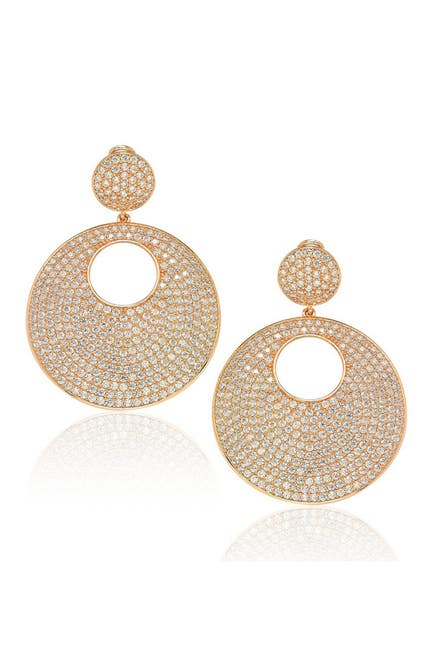 Image of Suzy Levian Gold Sterling Silver CZ Drop Earrings