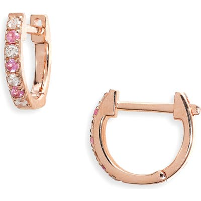 Ef Collection Mini Diamond & Sapphire Huggie Hoop Earrings