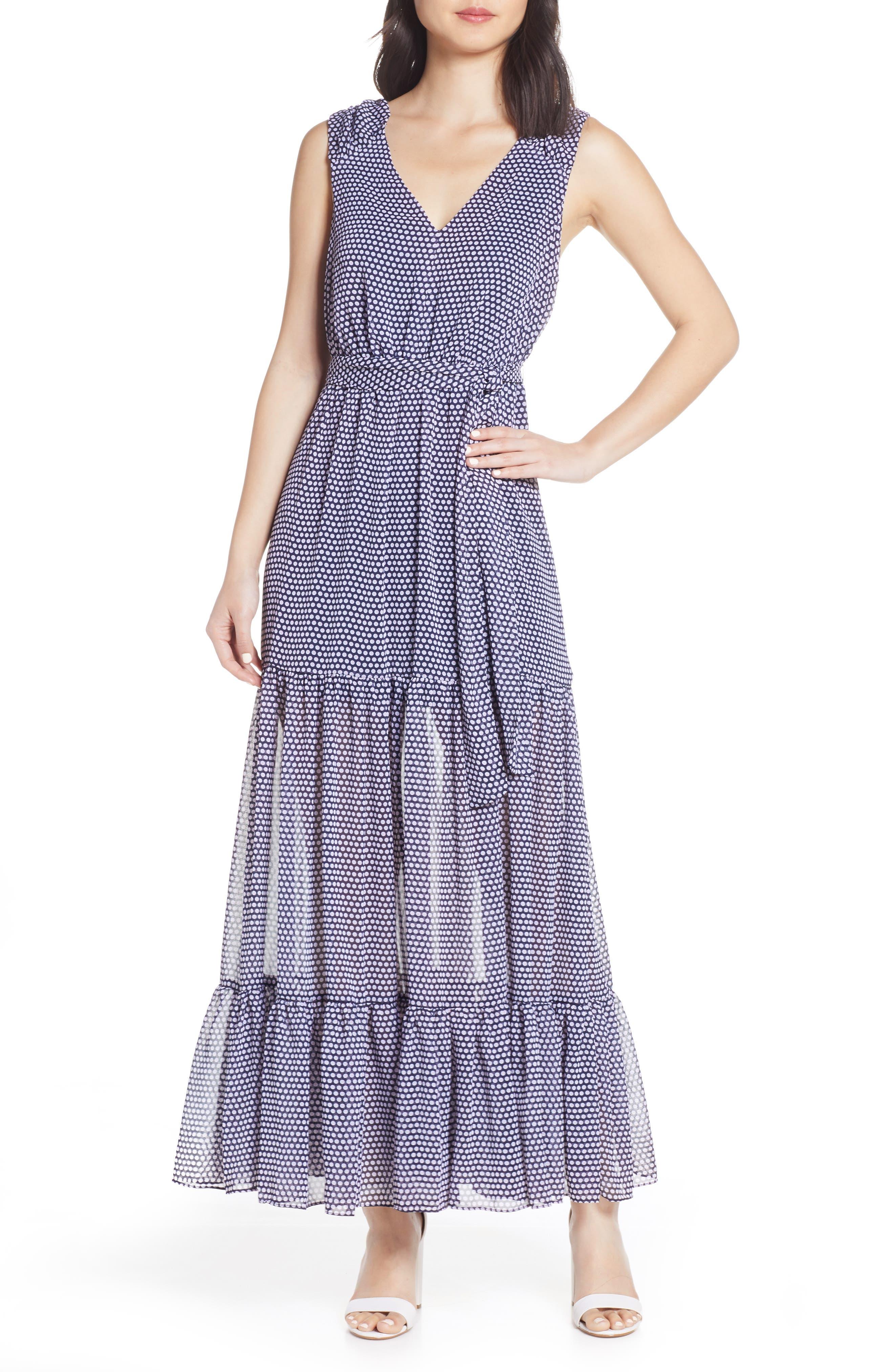 Avec Les Filles Polka Dot Maxi Dress, Blue