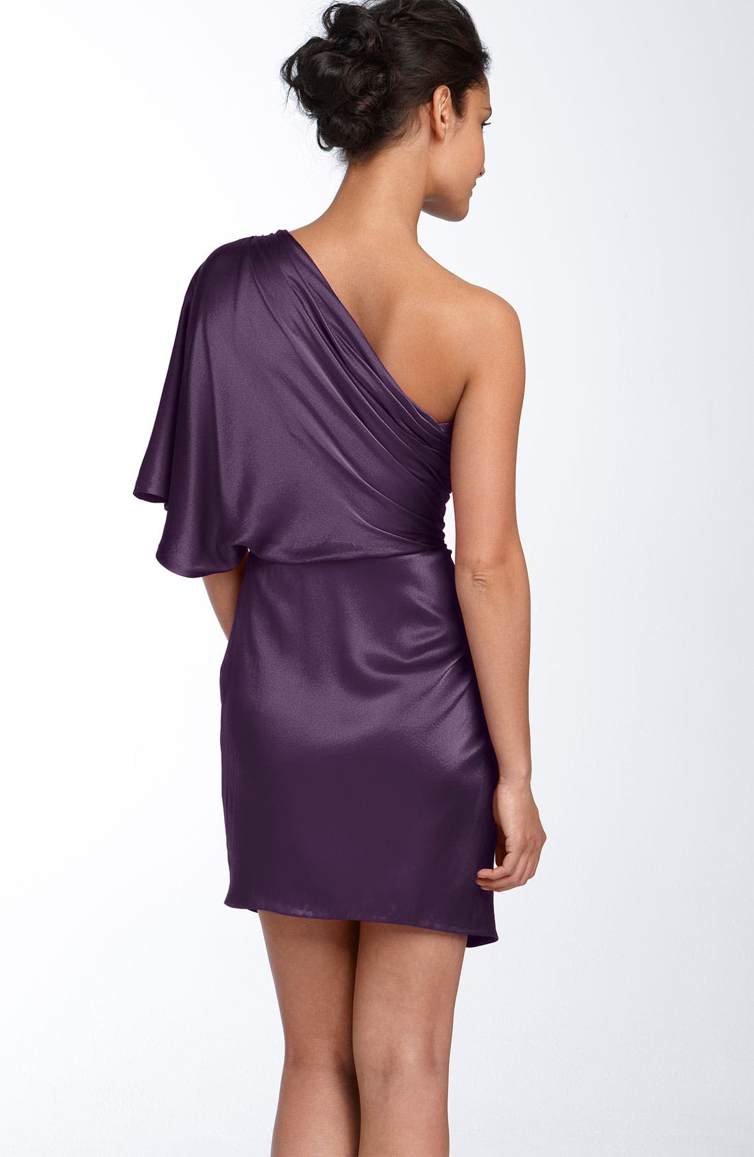 ,                             Draped One Shoulder Stretch Satin Dress,                             Alternate thumbnail 6, color,                             500