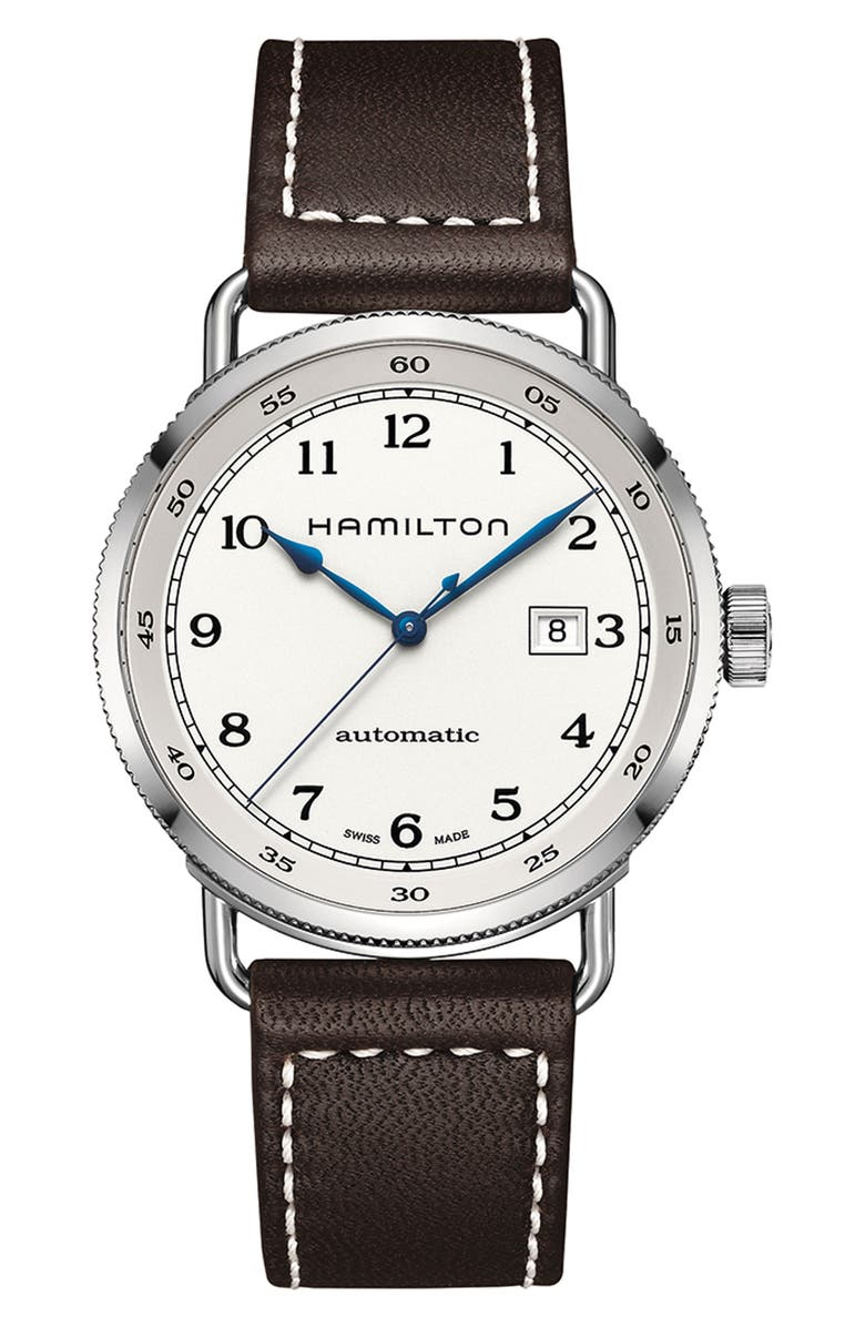 HAMILTON Khaki Automatic Leather Strap Watch, 43mm, Main, color, BROWN/ SILVER
