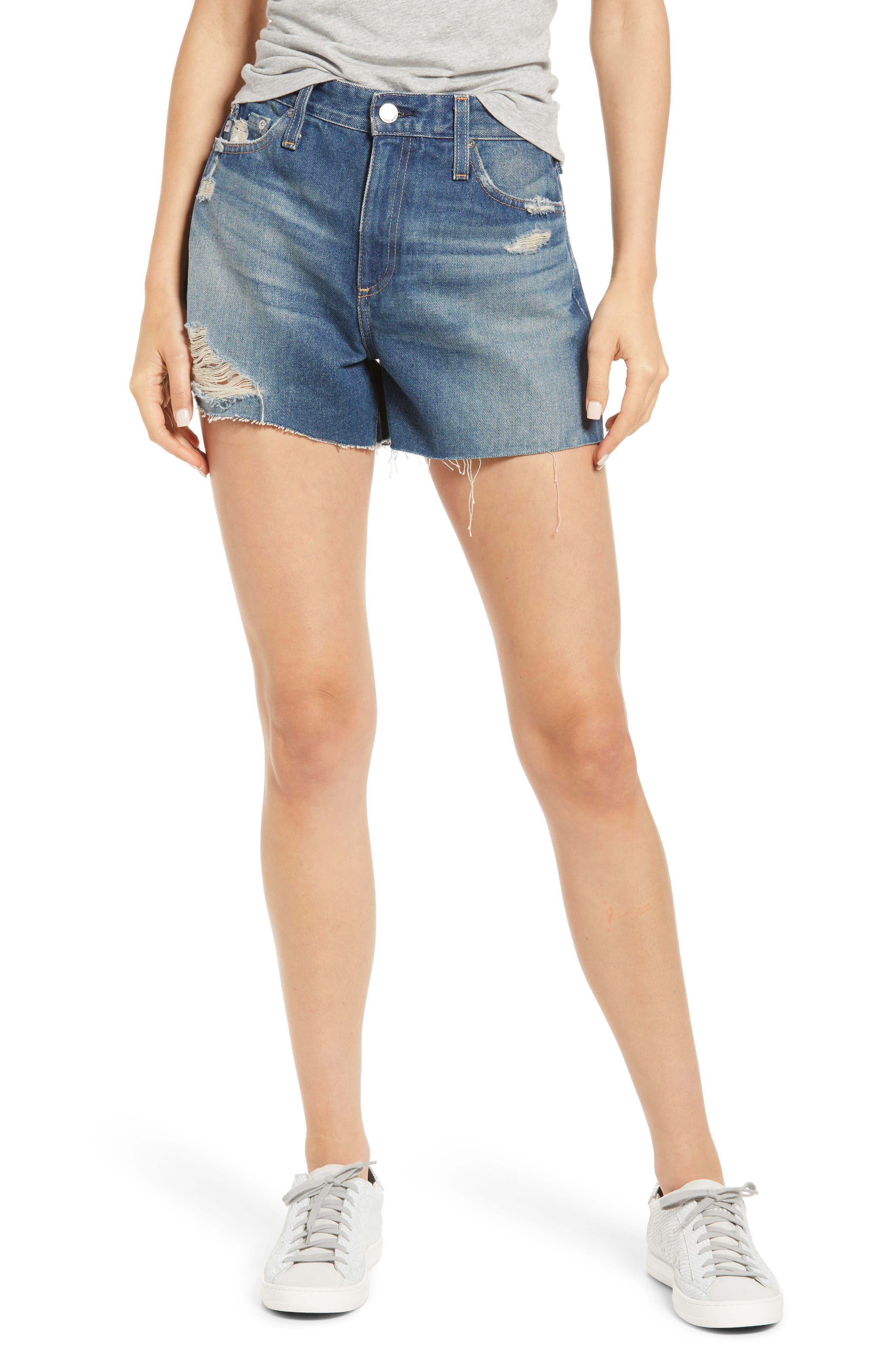 Alexxis High Waist Cutoff Denim Shorts