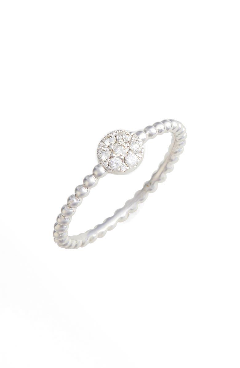 BONY LEVY Mika Round Halo Diamond Ring, Main, color, WHITE GOLD
