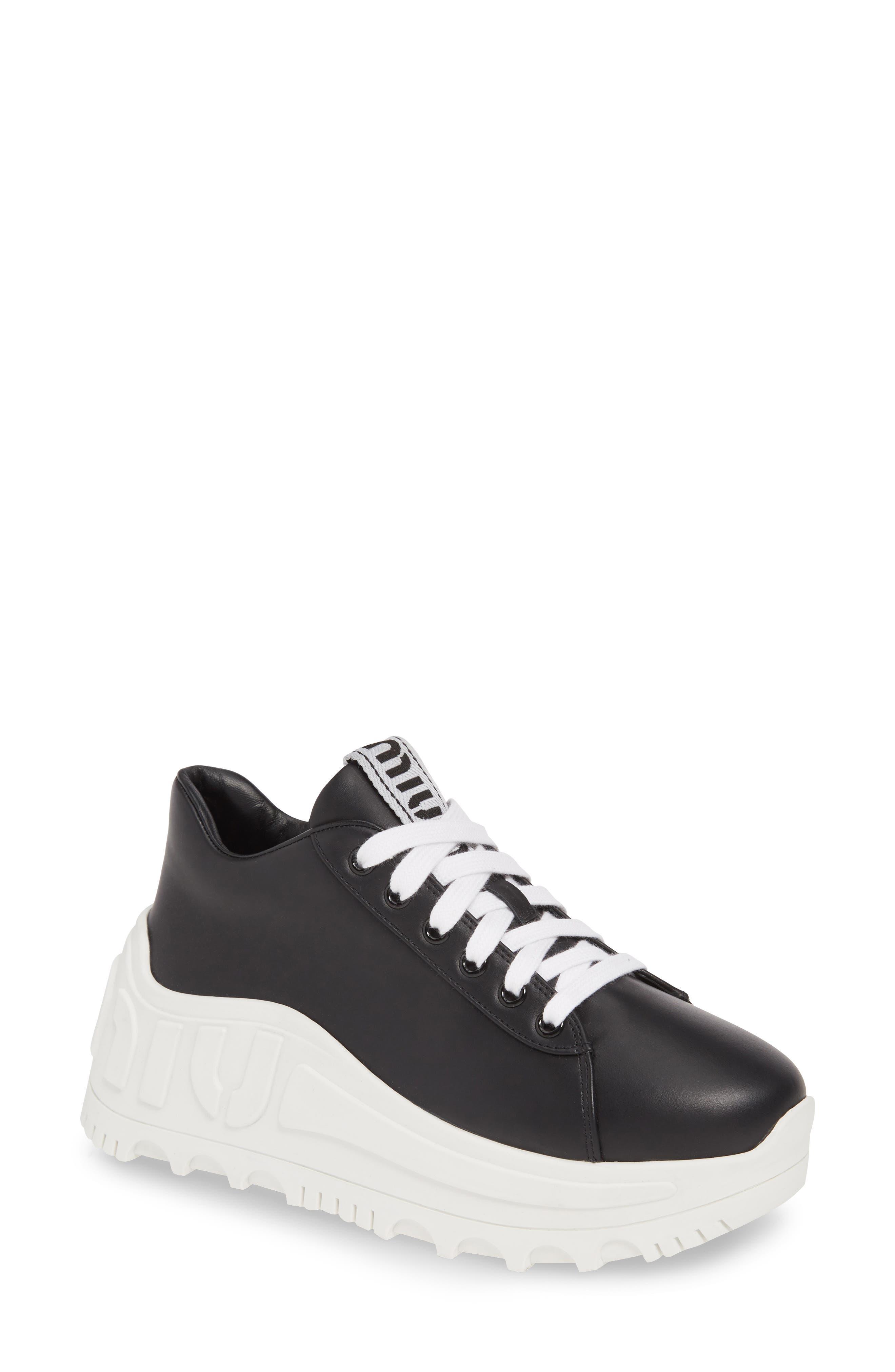 Miu Miu Wedge Sneaker, Black
